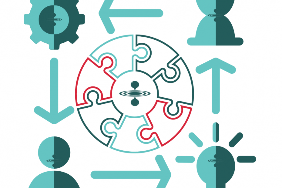 Symbols representing parts of a process that are linked including working cogs, hourglass, ideas and people.